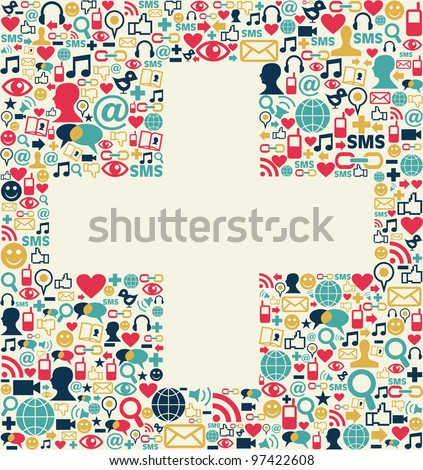 Social media icons set texture in plus sign shape composition background.