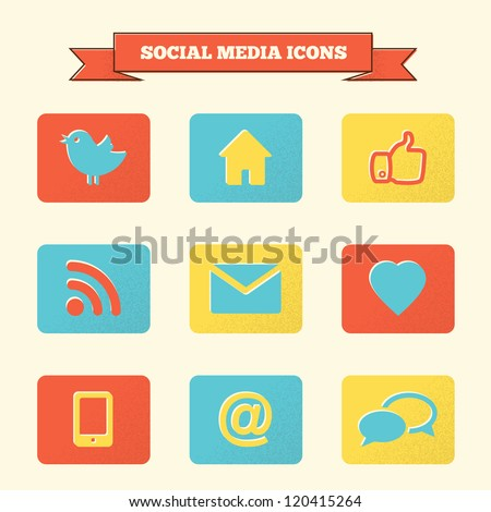 Social media icons set. Vintage styled vector icons. - stock vector