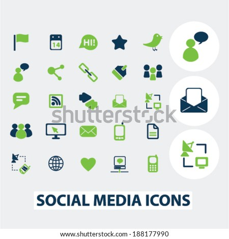 social media icons, signs set, vector