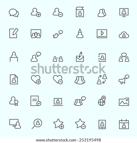 Social media icons, simple and thin line design - stock vector