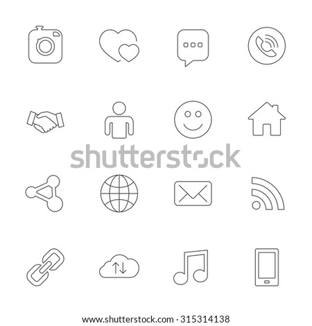 Social media icons. Speech bubble, lovers relationships and human person. Rss, share and mail envelope. Musical note, smartphone and smile. Outline line icons on white background. Vector