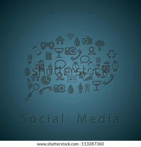 Social media icons texture in chat bubble - stock vector