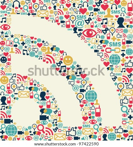 Social media icons texture with RSS shape composition background. - stock vector