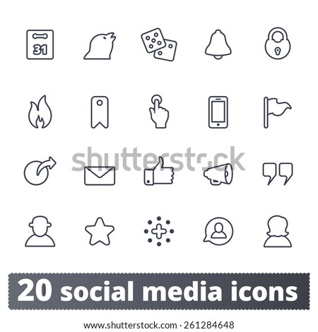 Social media icons: vector set for network, community and web sites, application, user interface. - stock vector
