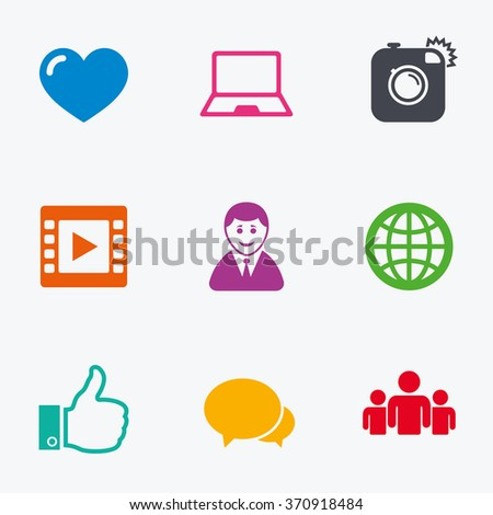 Social media icons. Video, share and chat signs. Human, photo camera and like symbols. Flat colored graphic icons. - stock vector