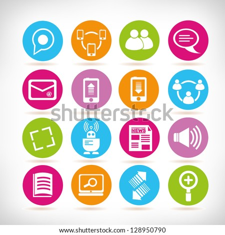 social media icons, web application set, button set - stock vector