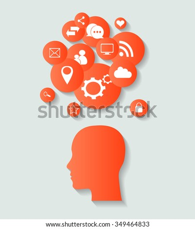 social media icons with human head, abstract vector red