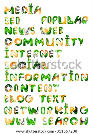 Social media in the internet - words, tags. Flowing wave design of letters - stock vector