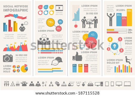 Social Media Infographic Template. - stock vector