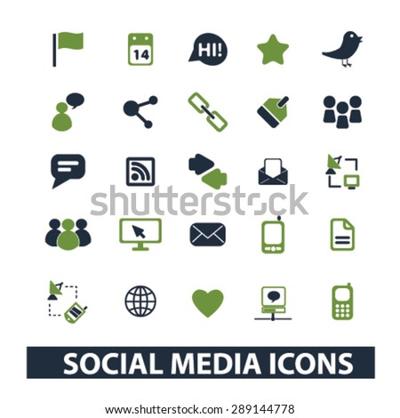 social media isolated icons, illustrations, vector - stock vector