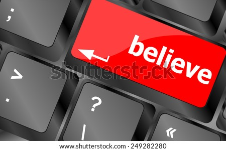 Social media key with believe text on laptop keyboard - stock vector