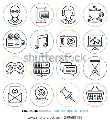 Social media line icons set. Vector collection of investment online networking symbols. - stock vector