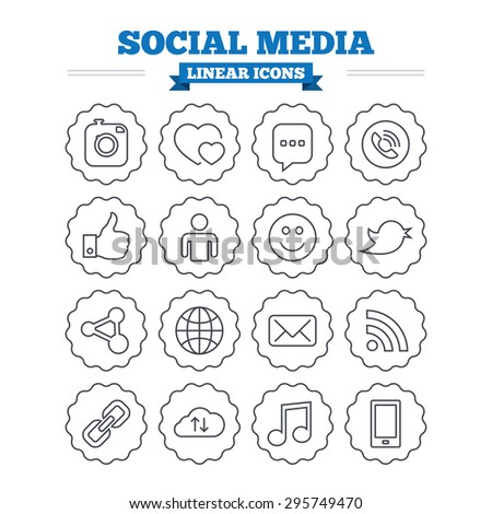 Social media linear icons set. Speech bubble, lovers relationships and human person. Rss, share and mail envelope. Musical note, smartphone and smile. Thin outline signs. Flat vector