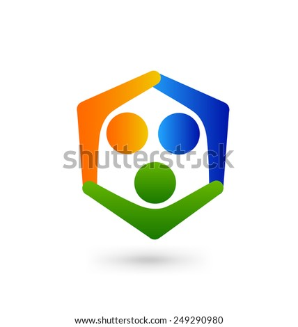 Social media logo design vector template. Teamwork internet people. Family concept icon. Friendship partnership community group. - stock vector