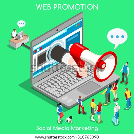 Social media marketing Concept. Interacting People Unique Isometric Realistic Poses. NEW bright palette 3D Flat Vector Icon Set. Online Promotion Web Advertisement Banner Template Mockup Illustration - stock vector