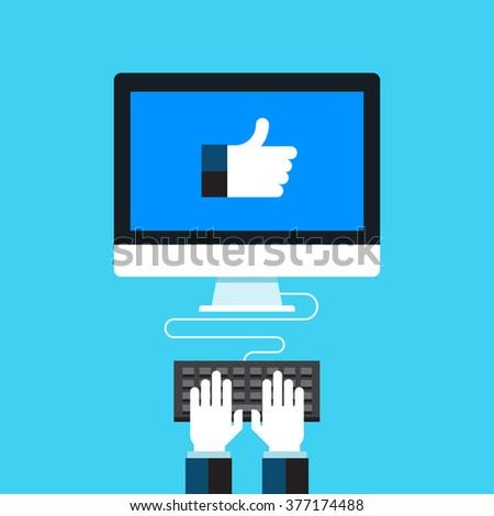 Social media marketing. Flat design modern vector illustration concept.  - stock vector