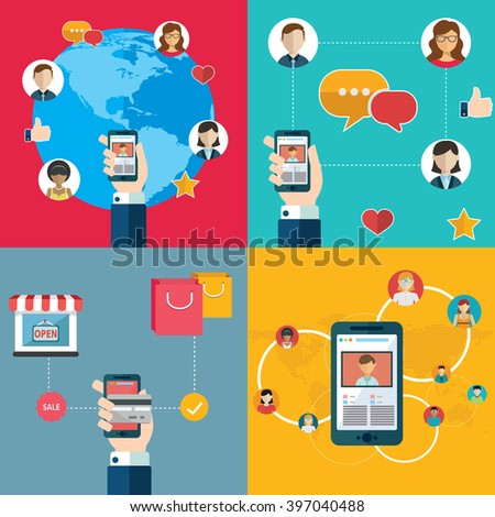 Social media network and smartphone  connection concept - stock vector