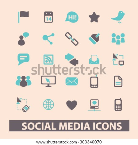 social media, network, blog, community flat isolated icons, signs, illustrations set, vector - stock vector