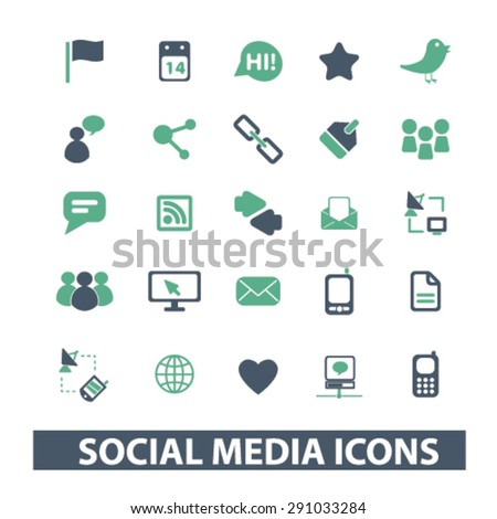 social, media, network, community isolated icons, signs, illustrations on white background for website, internet, mobile application, vector - stock vector