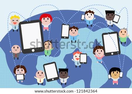 Social media network concept , vector - stock vector