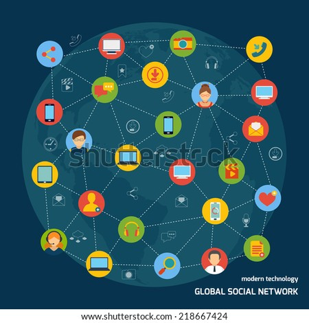Social media network concept with avatars and mobile devices icons connected vector illustration - stock vector