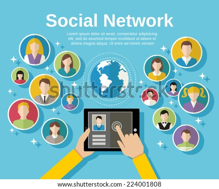 Social media network concept with human hand with tablet avatars and globe on background vector illustration - stock vector