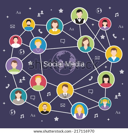 Social media network concept with male and female avatars connected vector illustration