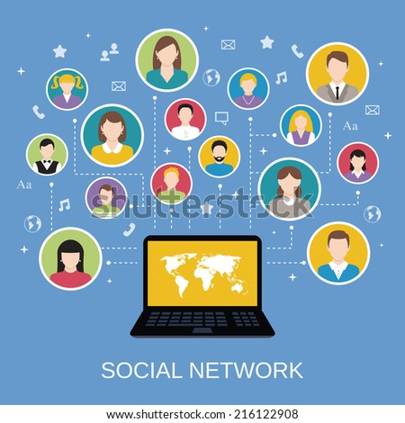 Social media network concept with male and female avatars connected via laptop vector illustration - stock vector