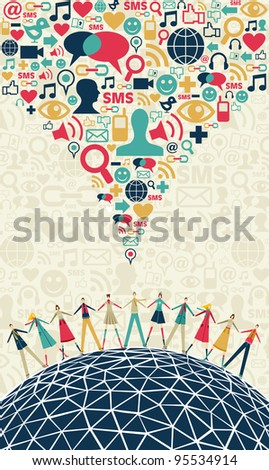 Social media network connection concept, with colors social icons texture, on light background. Vector file available - stock vector