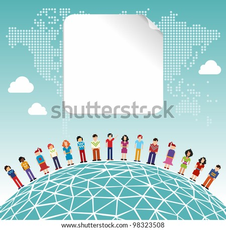Social media network connection concept with empty label and World map background. Vector file layered for easy manipulation and customizations. - stock vector