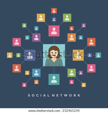 Social media network connection people concept user profile icons and wire mesh flat design concept vector illustration  - stock vector