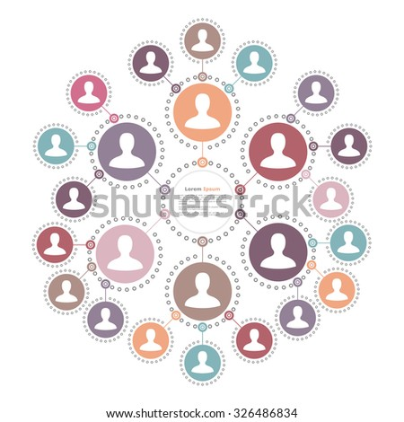 Social media network, people connection and communication concept, place for your text in the center, vector eps10 illustration - stock vector