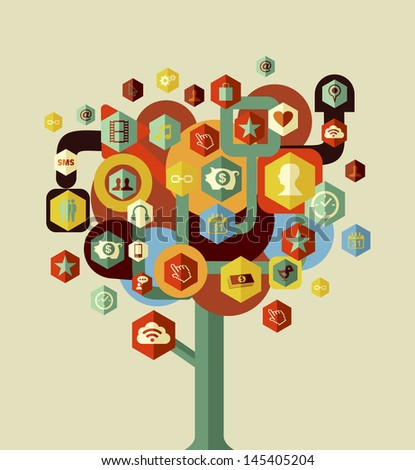 Social media network tree concept . Vector file layered for easy manipulation and custom coloring.