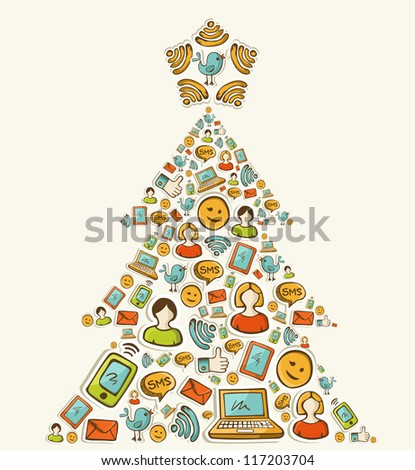 Social media networks icon set in Christmas pine tree. Vector illustration layered for easy manipulation and custom coloring. - stock vector