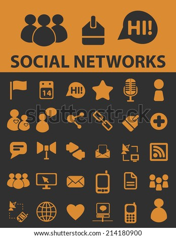 social media networks isolated icons, signs, vectors, illustrations, silhouettes set, vector - stock vector