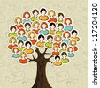 Social media networks tree with people icons leaves over icons pattern background. Vector illustration layered for easy manipulation and custom coloring. - stock photo