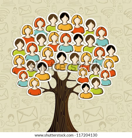 Social media networks tree with people icons leaves over icons pattern background. Vector illustration layered for easy manipulation and custom coloring. - stock vector
