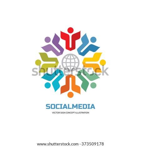 Social media of world - vector logo concept illustration. People group logo sign. Teamwork logo sign. Friendship logo sign. Vector logo template. Design elements. - stock vector