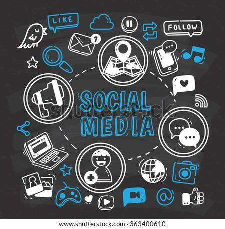 Social media or Internet themed doodle on chalkboard. - stock vector