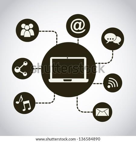 social media  over gray background. vector illustration - stock vector