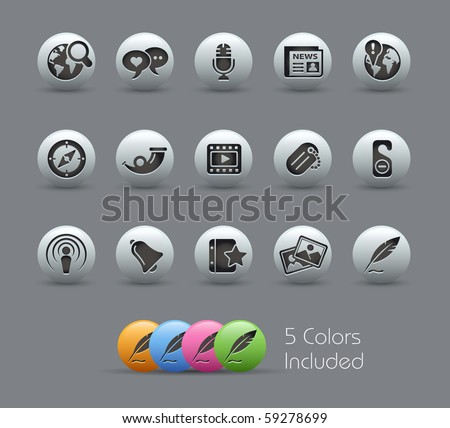 Social Media // Pearly Series -------It includes 5 color versions for each icon in different layers --------- - stock vector