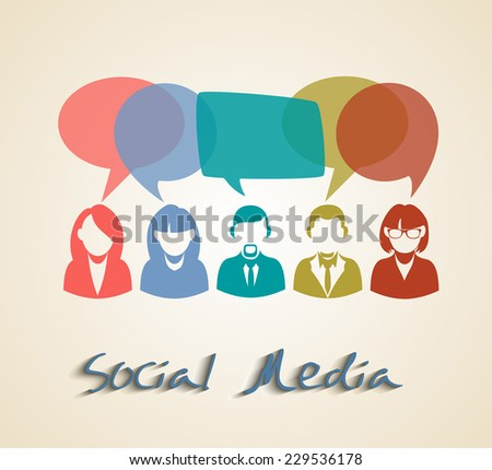 Social media people group. Chat and forum concept illustration. EPS10 vector file with transparency layers. - stock vector