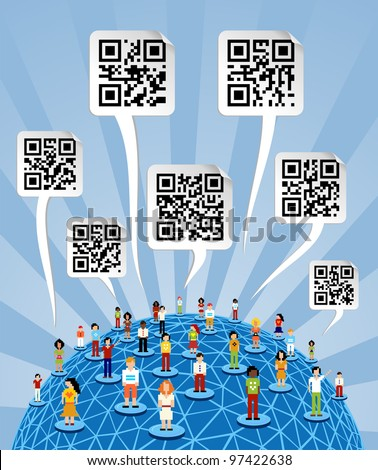 Social media people network connection concept with social QR codes in bubbles speech over World globe. - stock vector