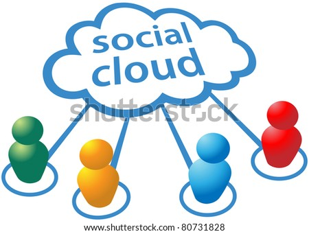 Social media people symbols connect to cloud computing network - stock vector
