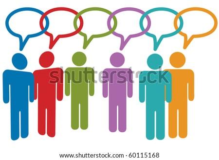 Social media people talk in speech bubble chain of links. - stock vector