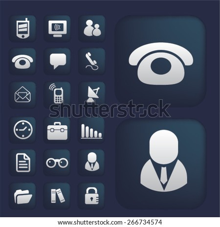 social media, phone, communication mobile buttons, icons, signs, illustrations design concept set. vector