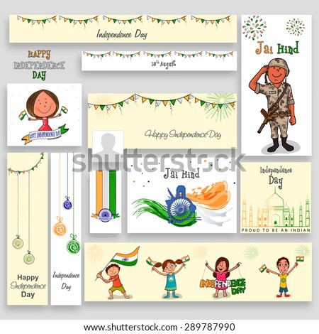 Social media post, header or banner set with kids, soldier and other elements for Indian Independence Day celebration.  - stock vector