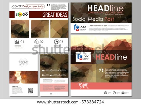 social media brochure template - business card set stock vector 67634737 shutterstock