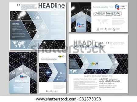 social media brochure template - vector brochure template design triangles icons stock