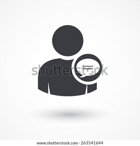 Social media profile chat bubble icon. - stock vector